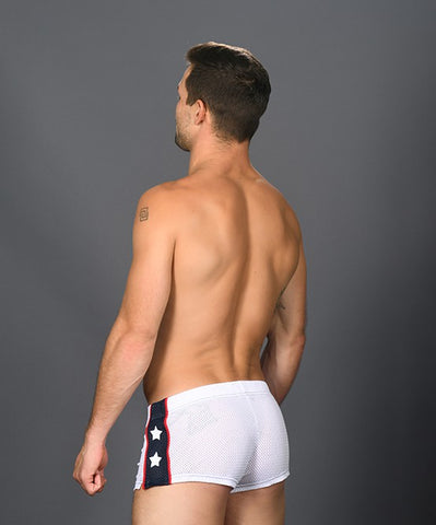 ANDREW CHRISTIAN SUPERHERO MESH JOGGER SHORTS (WHITE) - The Jock Shop