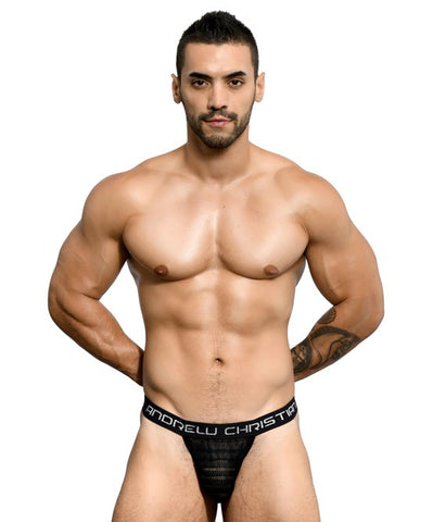 ANDREW CHRISTIAN SEDUCTIVE NET STRIPE Y-BACK THONG (BLACK) - The Jock Shop