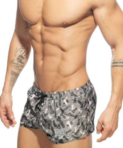 ADDICTED PENIS CAMO SWIM SHORTS (GREY) - The Jock Shop