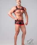 MASKULO YOUNGERO GENERATION Y MEN'S FETISH BULLDOG HARNESS (RED/BLACK)