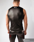 MASKULO ARMORED COLOR-UNDER MEN'S FETISH TANK TOP FRONT PADS(RED/BLACK)