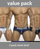 ADDICTED 3 PACK MESH PUSH-UP BRIEFS (BLACK, WHITE, BLUE) - The Jock Shop