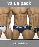 ADDICTED 3 PACK MESH PUSH-UP BRIEFS (BLACK, WHITE, BLUE)