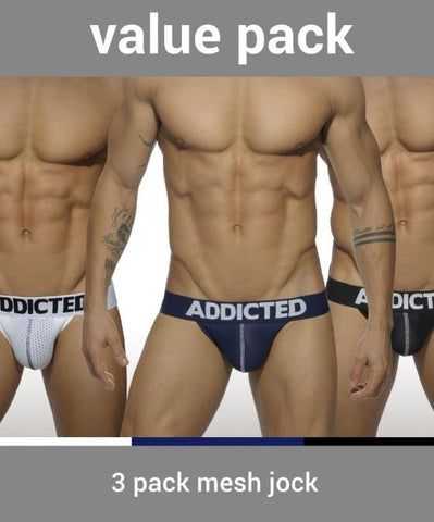 ADDICTED 3 PACK MESH PUSH-UP JOCK STRAPS (BLACK, WHITE, BLUE) - The Jock Shop
