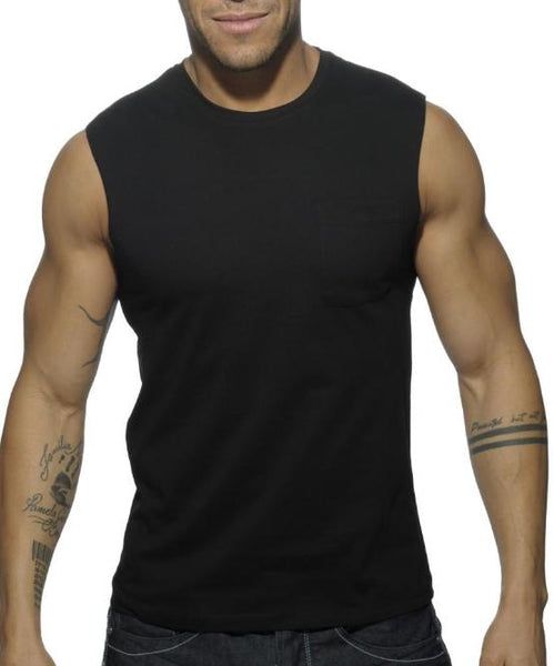 ADDICTED BASIC TANK TOP (BLACK) - The Jock Shop