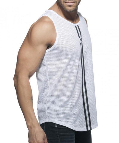 ADDICTED DOUBLE STRIPE MESH TANK TOP (WHITE) - The Jock Shop