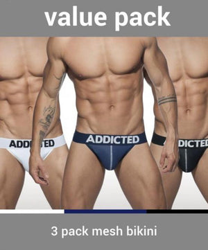 ADDICTED 3 PACK MESH BIKINI PUSH-UP BRIEFS (BLACK, WHITE, BLUE) - The Jock Shop