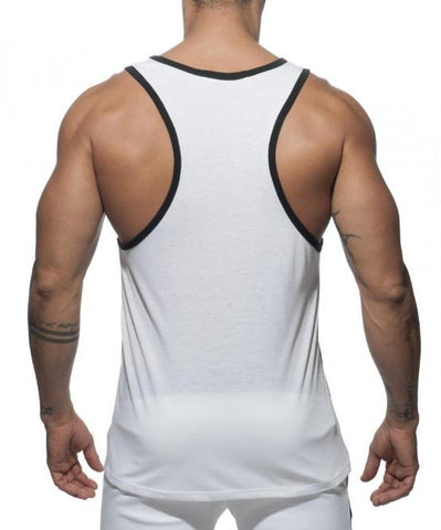 ADDICTED RAINBOW TANK TOP (WHITE) - The Jock Shop