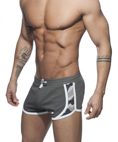 ADDICTED CAMO DETAIL SHORTS (GREY) - The Jock Shop