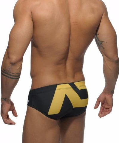 ADDICTED EXTRA LARGE PACK UP LOGO SWIM BRIEFS (BLACK) - The Jock Shop