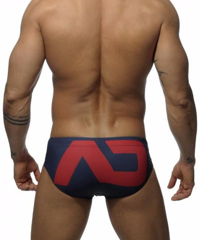ADDICTED EXTRA LARGE PACK UP LOGO SWIM BRIEFS (NAVY) - The Jock Shop