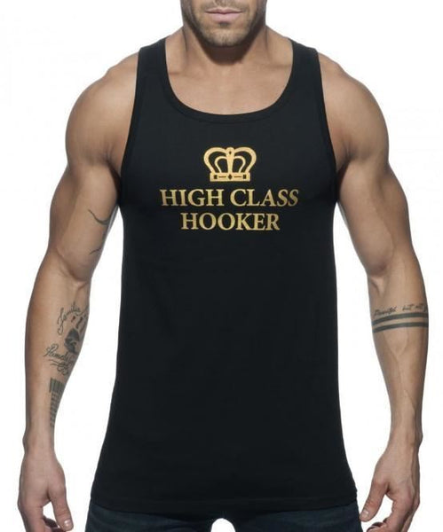 ADDICTED HIGH CLASS HOOKER TANK TOP (BLACK) - The Jock Shop