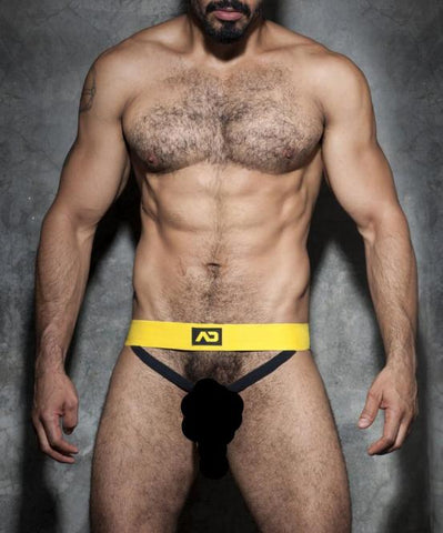 ADDICTED COCKRING DOUBLE JOCKSTRAP (YELLOW) - The Jock Shop