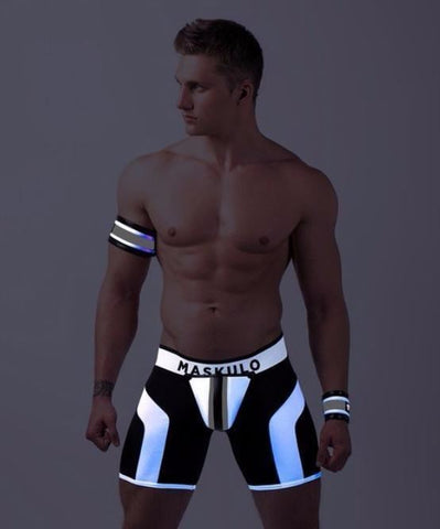 MASKULO DISCO ZIPPED REAR FETISH SHORTS WITH COD PIECE (WHITE) - The Jock Shop