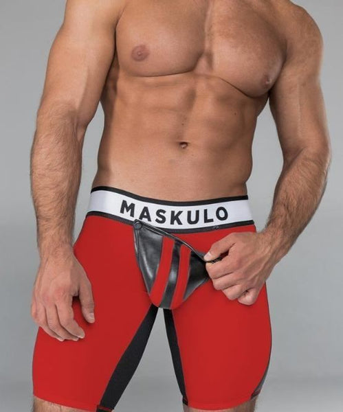 MASKULO FETISH SHORTS (RED/BLACK) - The Jock Shop