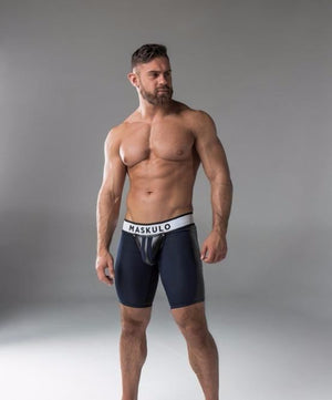 MASKULO FETISH SHORTS WITH COD PIECE (NAVY) - The Jock Shop