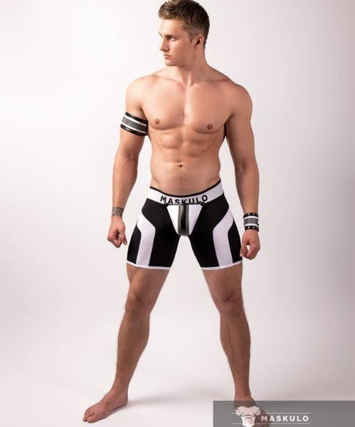 MASKULO FETISH SHORTS WITH COD PIECE (NEON WHITE/BLACK) - The Jock Shop