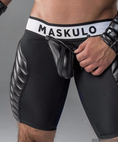 MASKULO FULL THIGH PAD FETISH SHORTS WITH COD PIECE (BLACK) - The Jock Shop