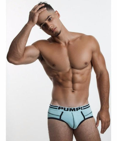 PUMP! AGUA MARINA SPORTS MESH BRIEF (AQUA BLUE) - The Jock Shop