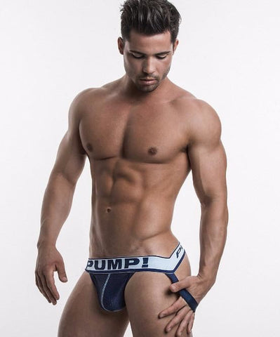 PUMP! BLUE STEEL SPORTS MESH JOCK (NAVY) - The Jock Shop