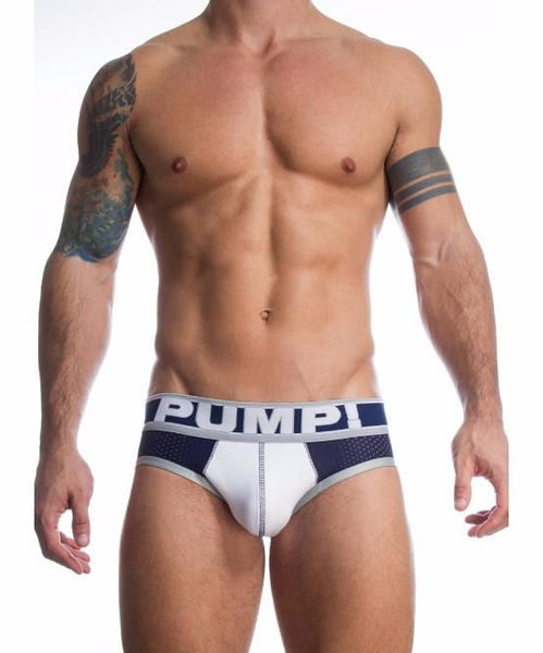 PUMP! TOUCHDOWN THUNDER SPORTS MESH BRIEF (NAVY/WHITE) - The Jock Shop