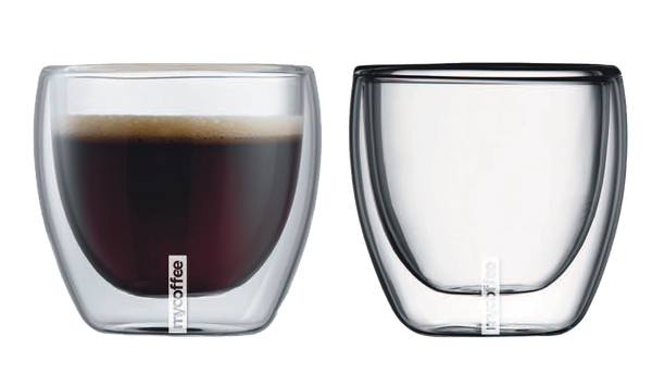 mycoffee cool touch double wall glassware 3.4 Fl. Oz  - set of 2