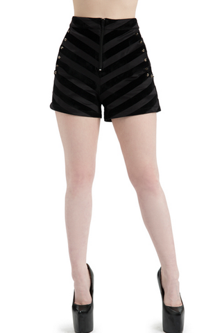 HIGH WAIST SHORTS BLACK STUDDED SUPER STRETCH BUTTON DOWN GOTH