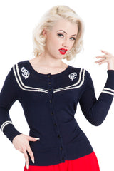NAVY BLUE SAILOR ROCKABILLY CARDIGAN PIN UP FIFTIES VINTAGE