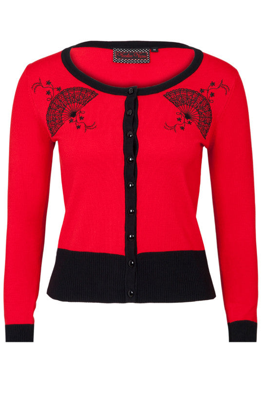 CARDIGAN SWEATER BLACK RED ROCKABILLY FIFTIES RETRO VINTAGE FAN VOODOO VIXEN
