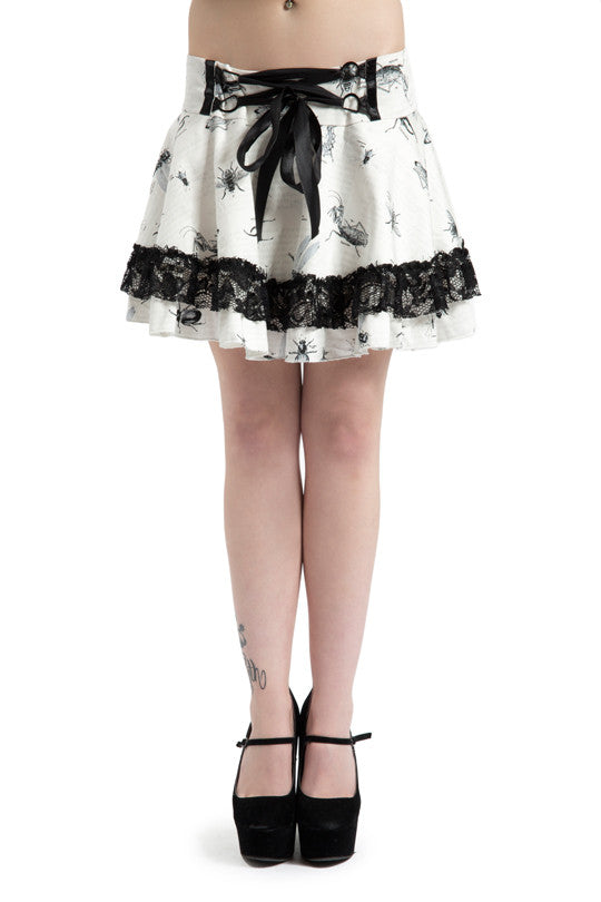 GOTH LACE FAN TAIL WHITE INSECT MINI SKIRT