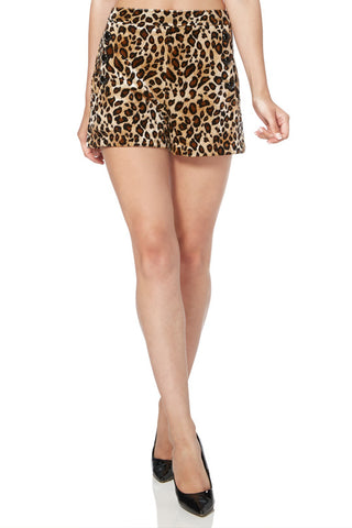 HIGH WAIST SHORTS LEOPARD ANIMALIER SUPER STRETCH BUTTON DOWN VINTAGE