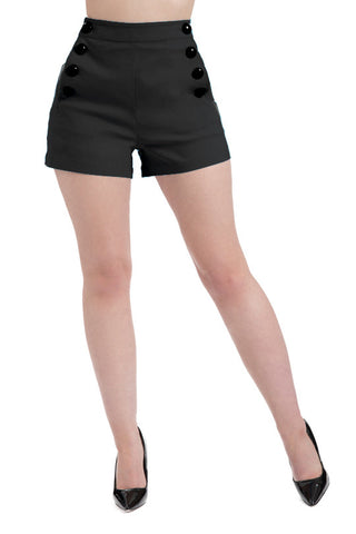 HIGH WAIST SHORTS BLACK SUPER STRETCH BUTTON DOWN VINTAGE PIN UP