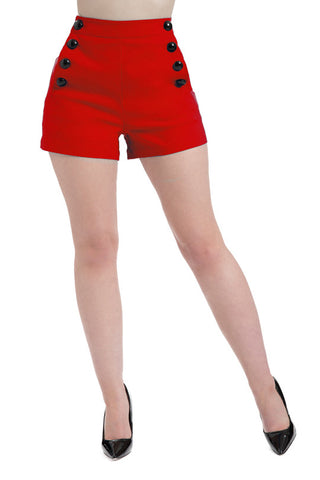 HIGH WAIST SHORTS RED SUPER STRETCH BUTTON DOWN VINTAGE PIN UP