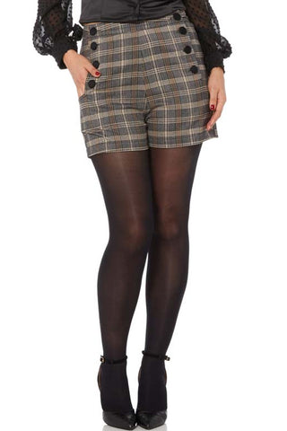 HIGH WAIST SHORTS SCOTTISH TARTAN SUPER STRETCH