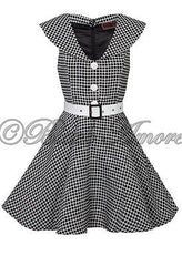Tea Cocktail Dress 20s 40s Black White Gingham Vintage Bridesmaid Party Prom