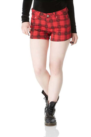 HIGH WAIST SHORTS SCOTTISH RED TARTAN SUPER STRETCH