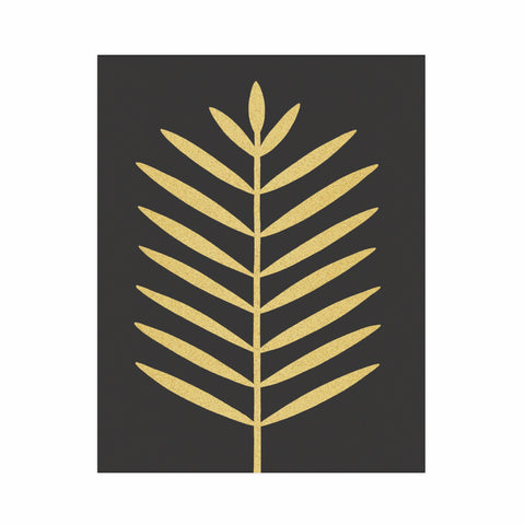 Modern palm leaf - Gold on black - 11x14 print