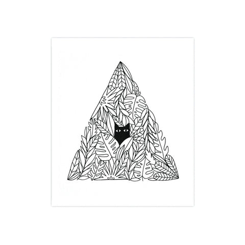 Cat in a Plant Pyramid 8x10 Screen Print