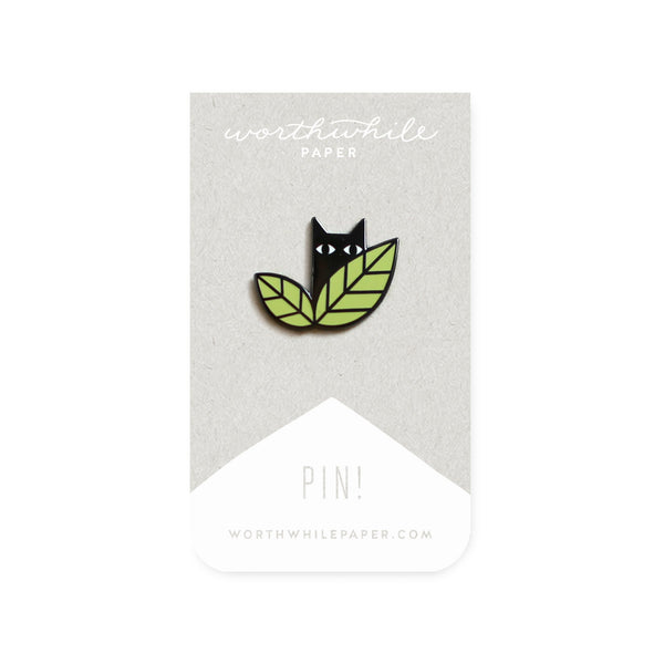 Cat in Leaves Enamel Pin