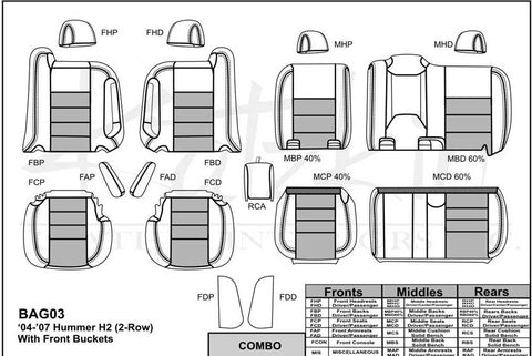 2004 - 2006 HUMMER H2 Katzkin Leather Interior (without third row seating) (2 row)