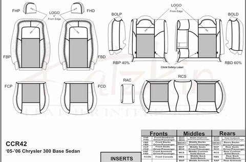 2005 - 2010 Chrysler 300 BASE / Touring / LX Katzkin Leather Interior (without front seat SRS airbags) (2 row)