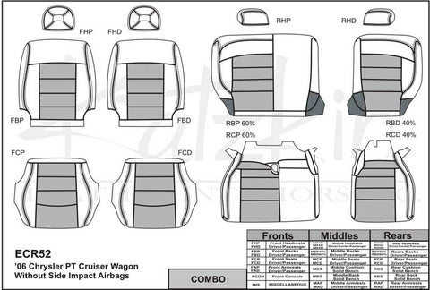 2006 - 2010 Chrysler PT Cruiser Katzkin Leather Interior (without front seat SRS airbags) (2 row)