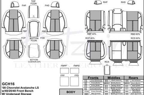 2008 - 2009 Chevrolet Avalanche Katzkin Leather Interior (3 passenger front seat) (2 row)