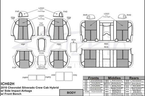 2010 - 2013 Chevrolet Silverado CREW CAB HYBRID Katzkin Leather Interior (2 row)