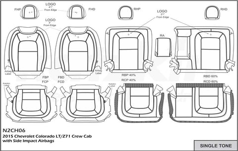 2015 - 2017 Chevrolet Colorado LT / Z71 CREW CAB Katzkin Leather Interior (with rear armrest) (2 row)