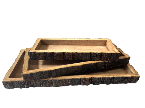 Wood Bark Trays - Set of Three - Rectangular