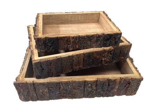 Wood Bark Boxes - Set of Three - Rectangular