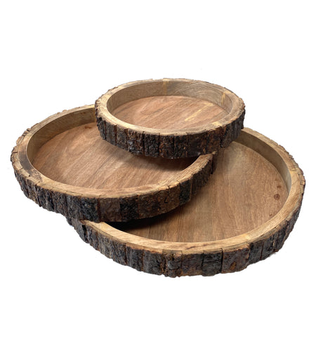 Wood Bark Trays - Set of Three - Round