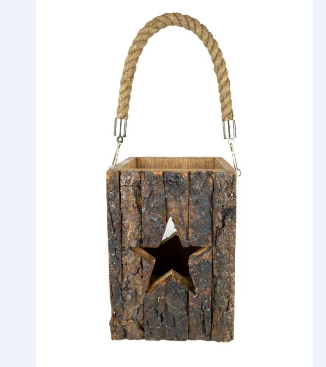 WOOD BARK STAR LANTERN 6X5.5X8""