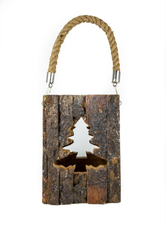 WOOD BARK TREE LANTERN 6X5.5X8""